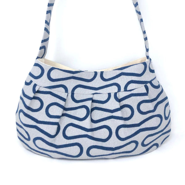 Retro Modern Handbag in Blue Loops Barkcloth
