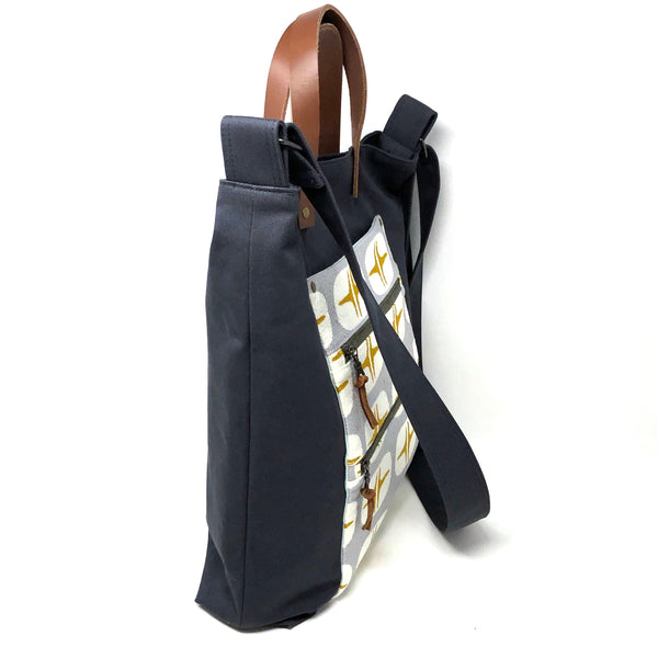 Double Zip Tote Large Retro Gray Quadrant