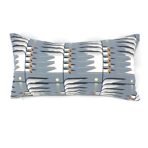 Lumbar Throw Pillow Cover in Charley Harper Skimmerscape Barkcloth