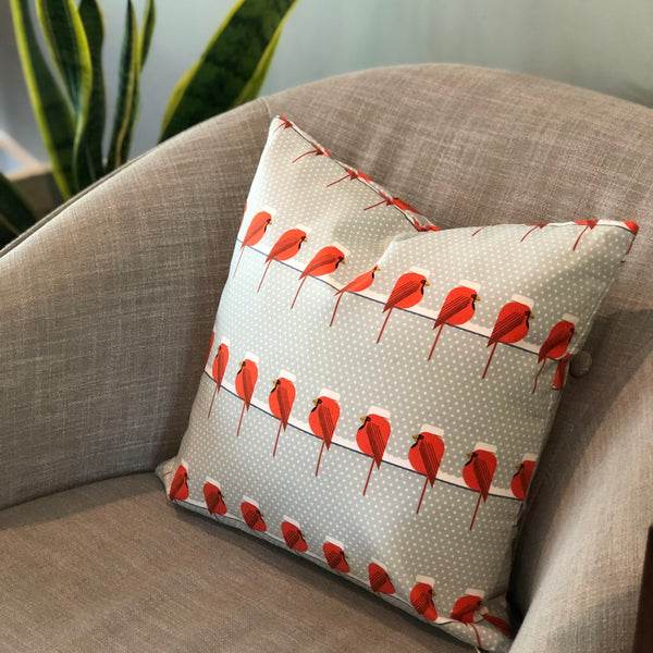 *Limited Edition* Throw Pillow Cover Charley Harper Cool Cardinals