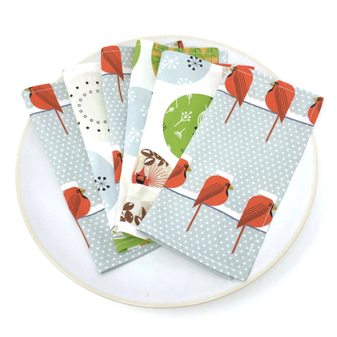 *Limited Edition* Organic Cocktail Napkins - Set of 6 Charley Harper Holidays