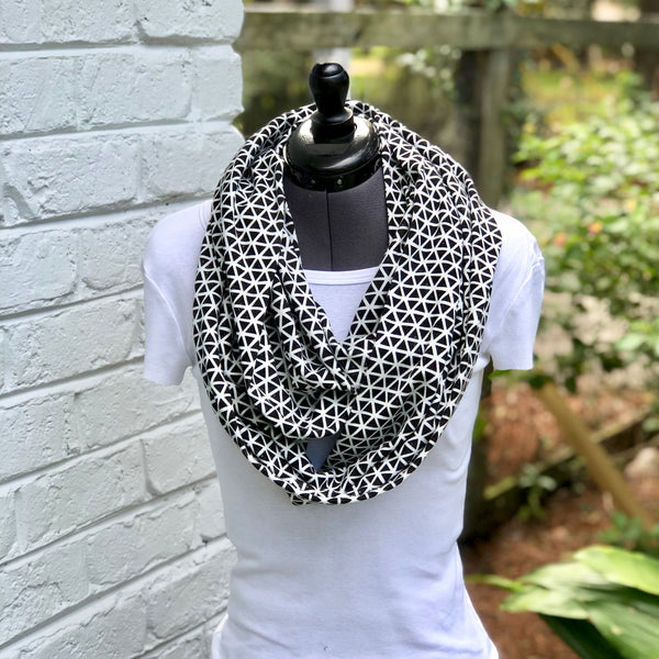 Infinity Scarf Black Triangles Knit