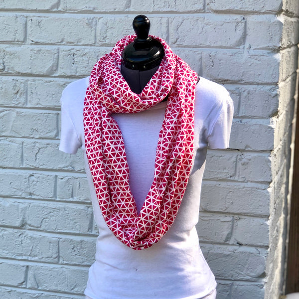 Infinity Scarf Pink Triangles Knit