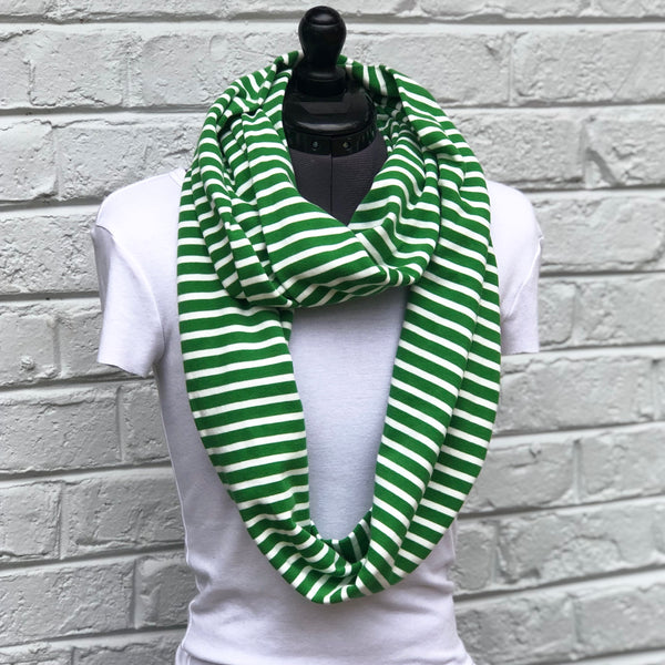 Infinity Scarf Green Stripes Knit