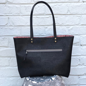 Bucket Tote Sustainable Black Cork  - Customize Your Lining!