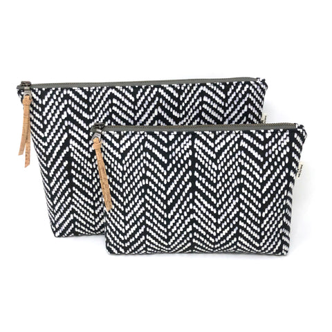Slim Zip Pouch Black Modern Chevron - 3 Sizes