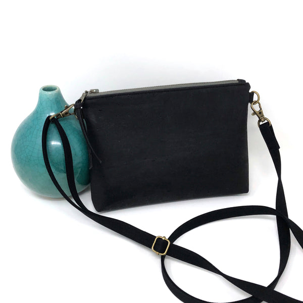 Sustainable Black Cork Mini Crossbody