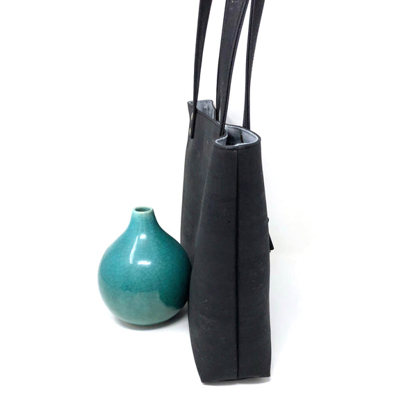 Bucket Handbag Sustainable Black Cork - Customize Your Lining!