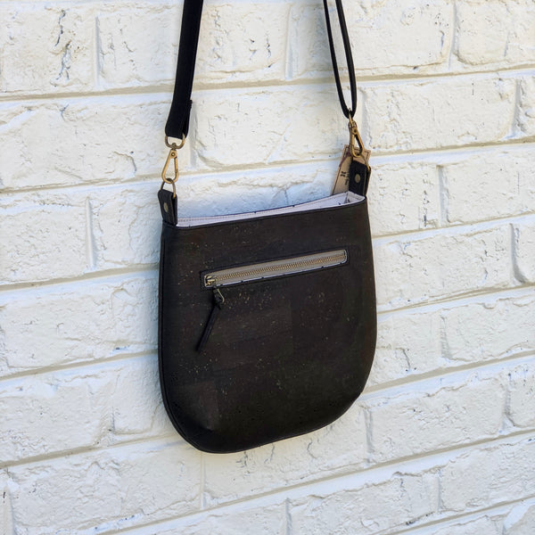 Sustainable Black Cork Small Crossbody - Customize Your Lining!
