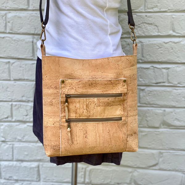 Double Zip Tote in Natural Cork
