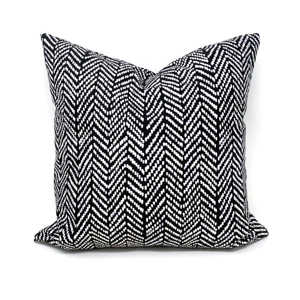 Throw Pillow Cover Black Herringbone