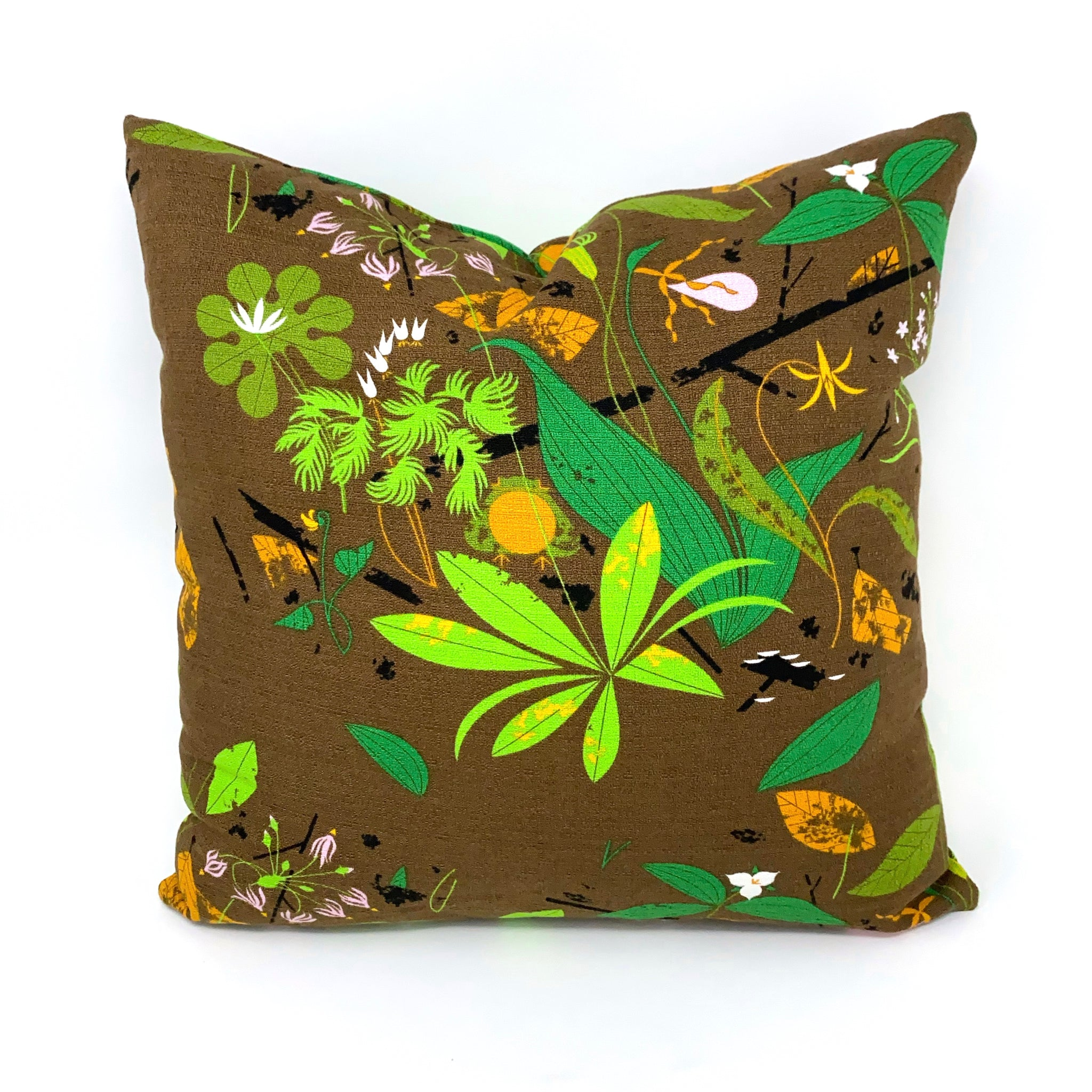 Throw Pillow Cover Charley Harper Barkcloth Spring Wildflowers