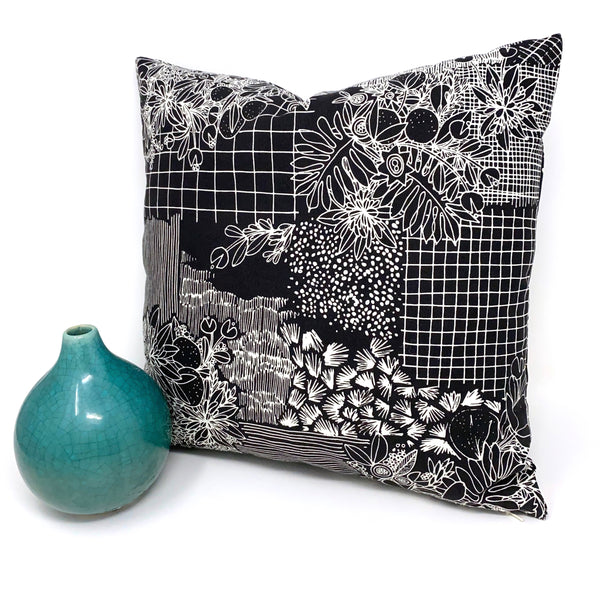 Throw Pillow Cover Black Overgrowth