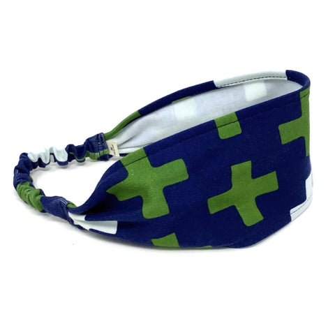 Organic Headband Navy Crosses
