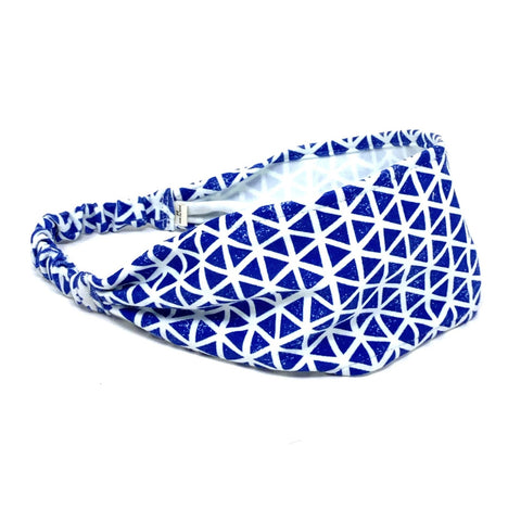 Organic Headband Blue Triangles