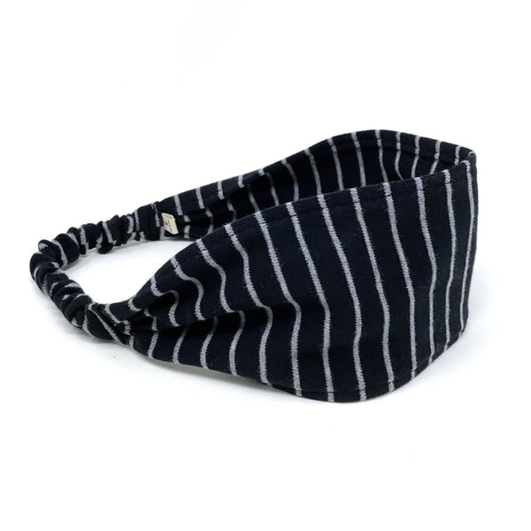 Organic Headband Black and Gray Stripes