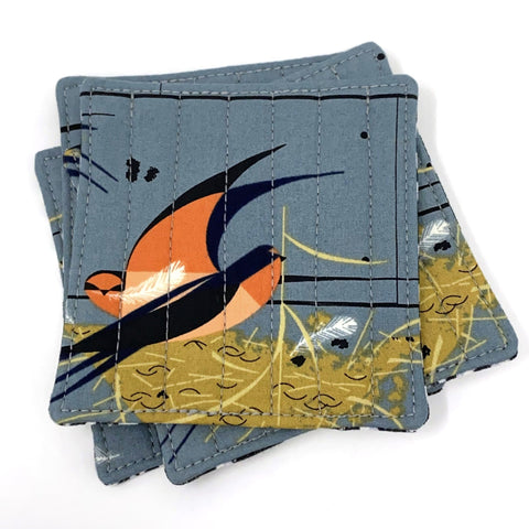 Coasters Set of 4 Charley Harper Barn Swallow Graphite