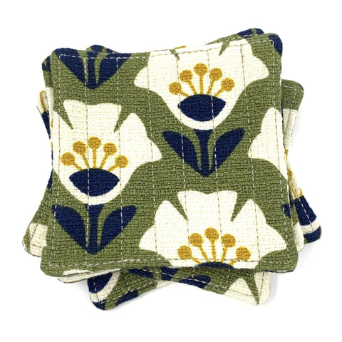 Coasters Set of 4, Barkcloth Retro Olive Garden Variety