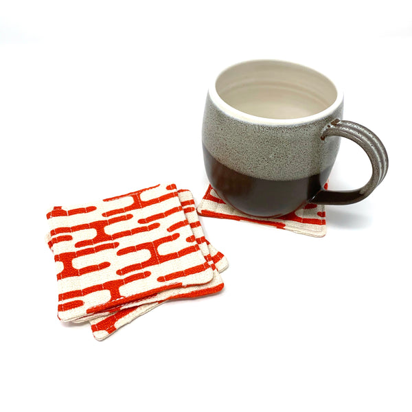 Coasters Set of 4, Barkcloth Get Lost Orange