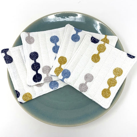 Coasters Set of 4, Barkcloth Dot to Dot White