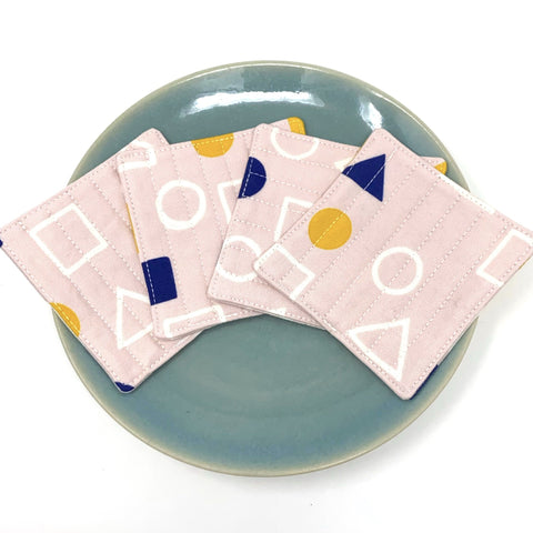 Coasters Set of 4 Pink Geometry
