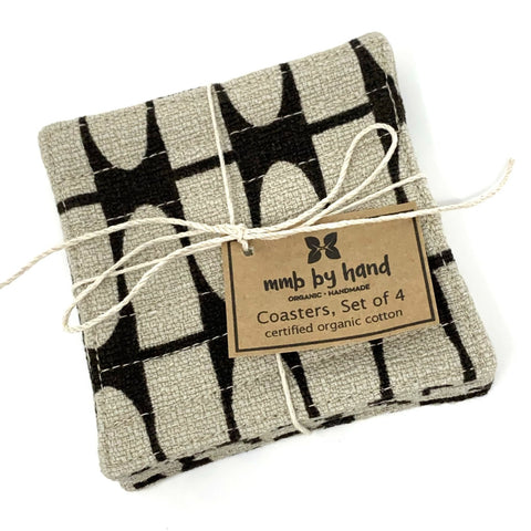 Coasters Set of 4, Barkcloth Brown Half Life