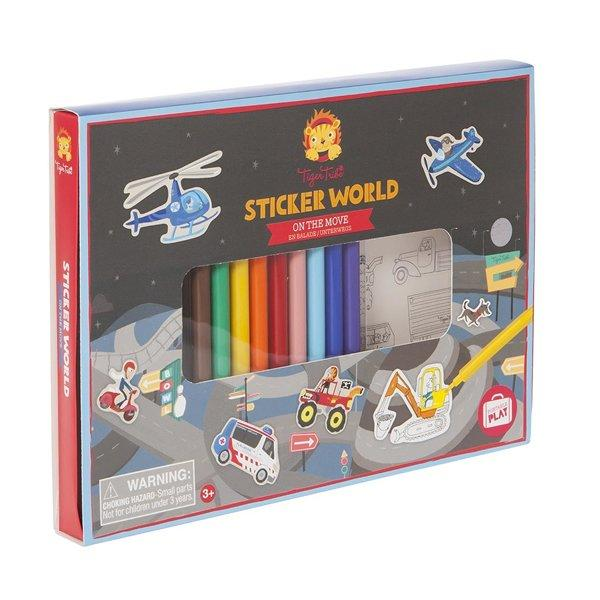 Set para decorar  y jugar con Stickers: Transportes