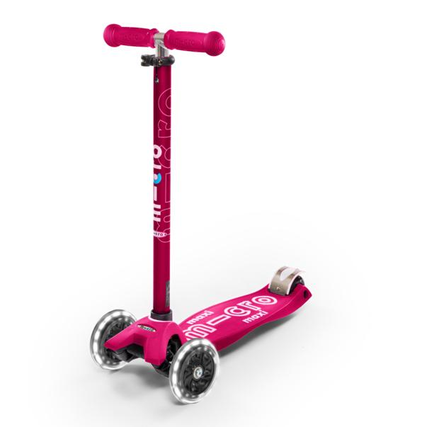 Scooter Micro Maxi Deluxe LED Rosado