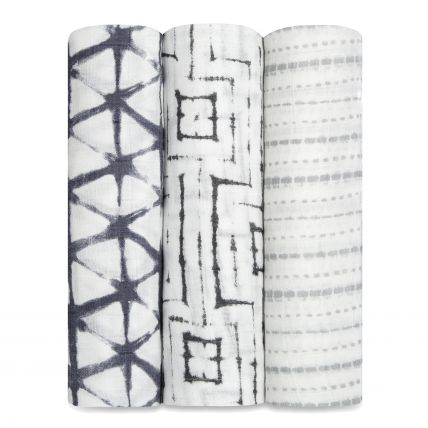 Swaddle de Bamboo 3 Pack - Pebble shibori