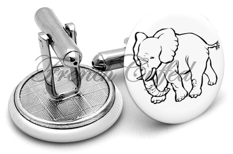 Elephant Cute Cufflinks - Angled View