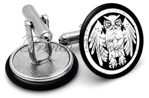 Owl Riverboat Gamblers Cufflinks - Angled View