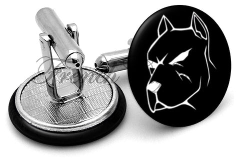 Pit Bull Dog Cufflinks - Angled View