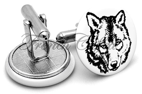 Wolf Face Cufflinks - Angled View