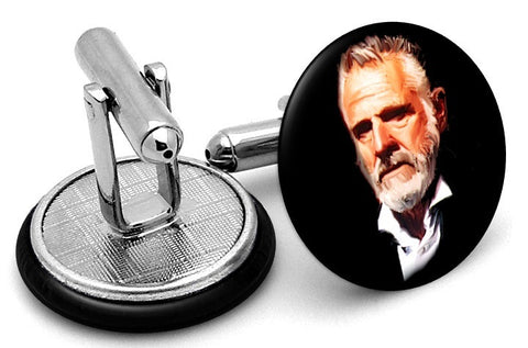 Most Interesting Man World Cufflinks - Angled View