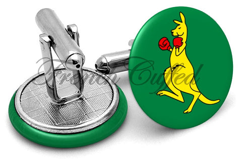 Boxing Kangaroo Cufflinks - Angled View