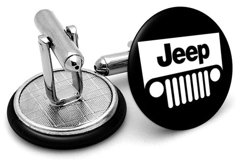 Jeep Logo Black Cufflinks - Angled View