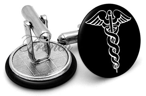 Medical Caduceus  Cufflinks - Angled View