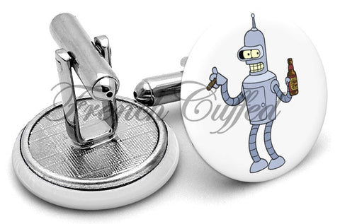 Bender Futurama Cufflinks - Angled View