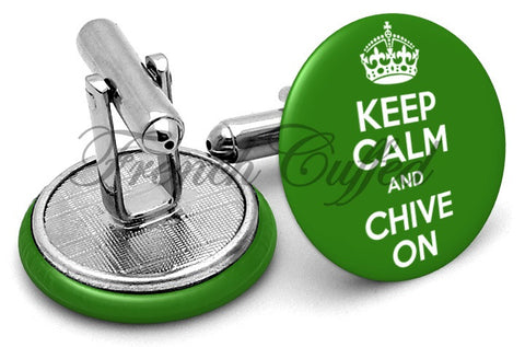 Keep Calm Chive On Cufflinks - Angled View
