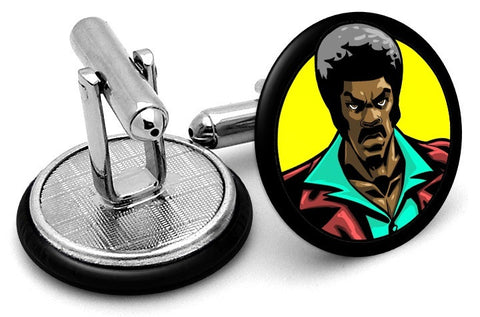 Black Dynamite Cufflinks - Angled View