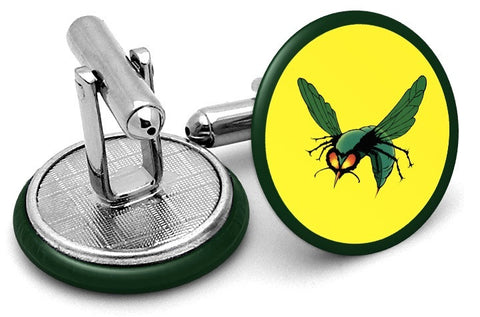 Green Hornet Symbol Cufflinks - Angled View