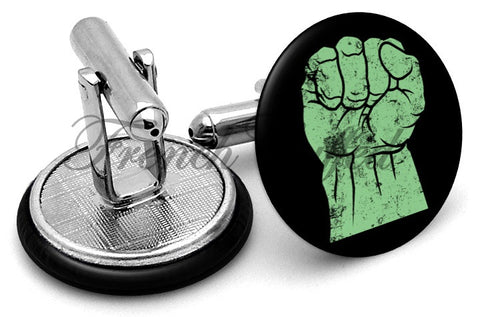 Incredible Hulk Fist Cufflinks - Angled View