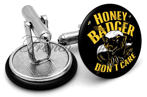 Honey Badger Don't Care Cufflinks - Angled View