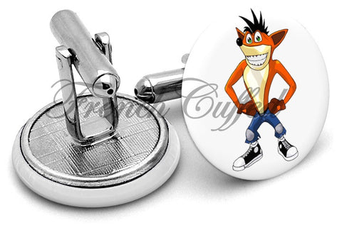 Crash Bandicoot Cufflinks - Angled View