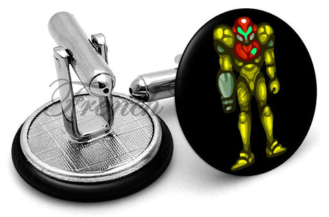Metroid Samus Cufflinks - Angled View