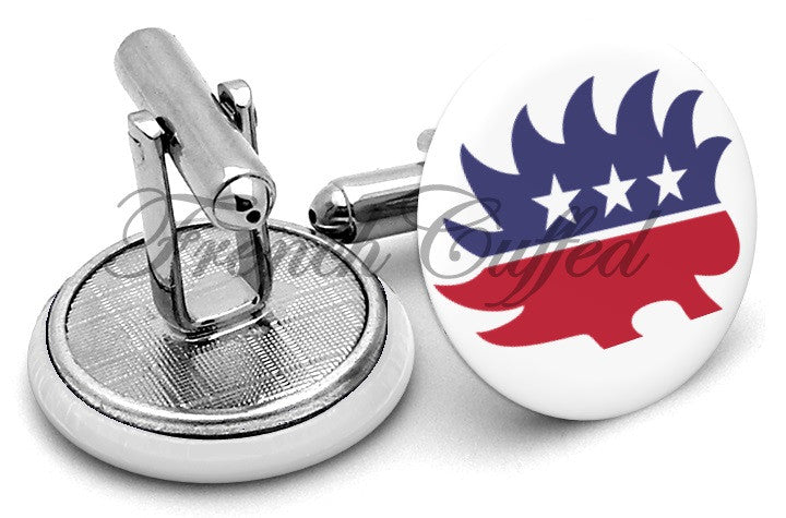 Libertarian Party Porcupine Cufflinks By Frenchcuffed Discount And