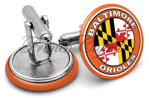Baltimore Orioles Symbol Cufflinks - Angled View