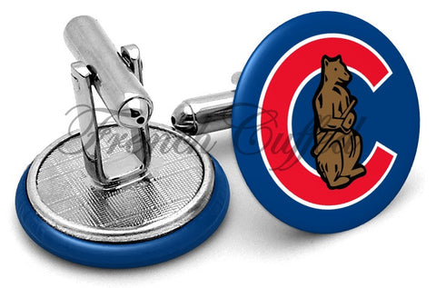 Chicago Cubs Vintage Cufflinks - Angled View