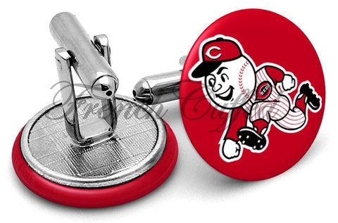 Cincinatti Reds Alternate Cufflinks - Angled View