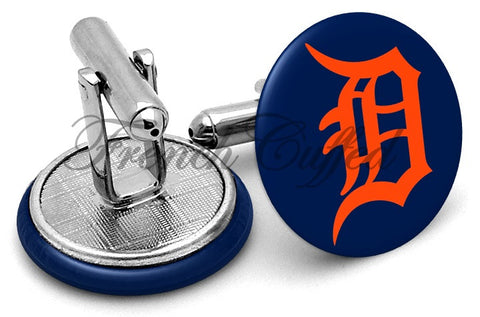 Detroit Tigers Orange Cufflinks - Angled View